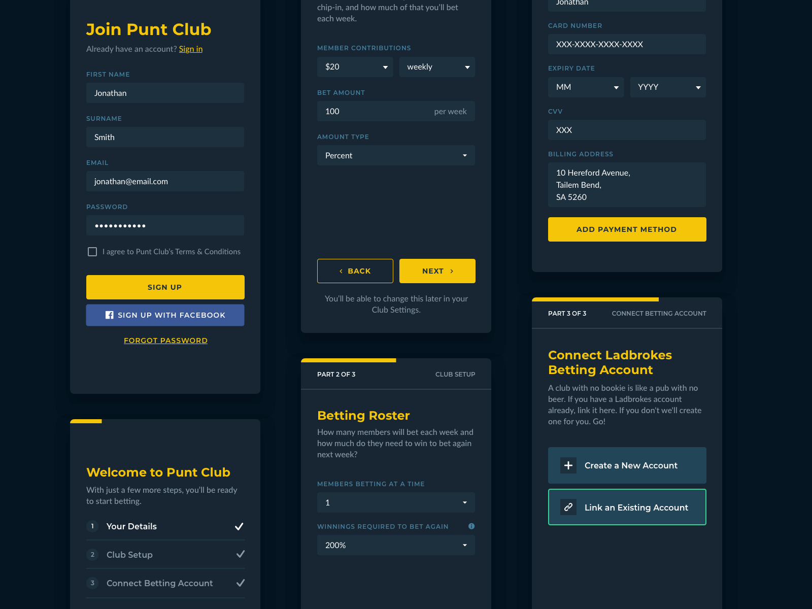 PuntClub Mobile Design